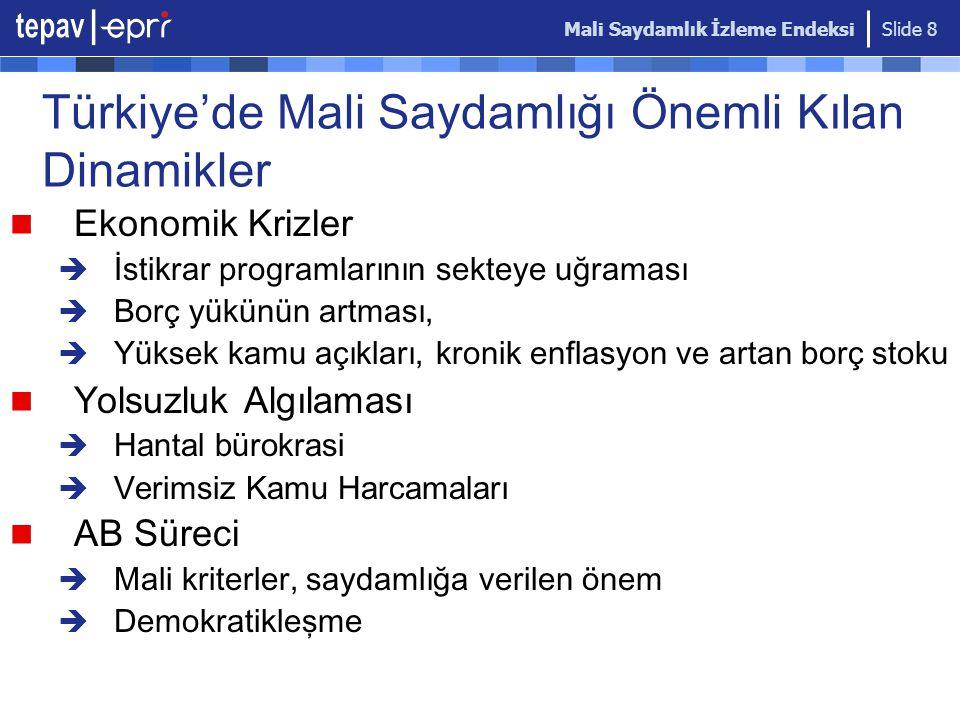 Mali Saydamlık İzleme Endeksi Slide 8 Türkiye'de Mali Saydamlı ğ ı Önemli Kılan Dinamikler Ekonomik Krizler  İstikrar programlarının sekteye uğraması