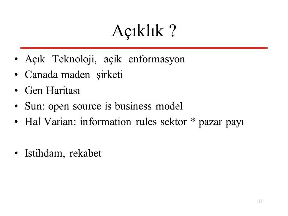 11 Açıklık ? Açık Teknoloji, açik enformasyon Canada maden şirketi Gen Haritası Sun: open source is business model Hal Varian: information rules sekto