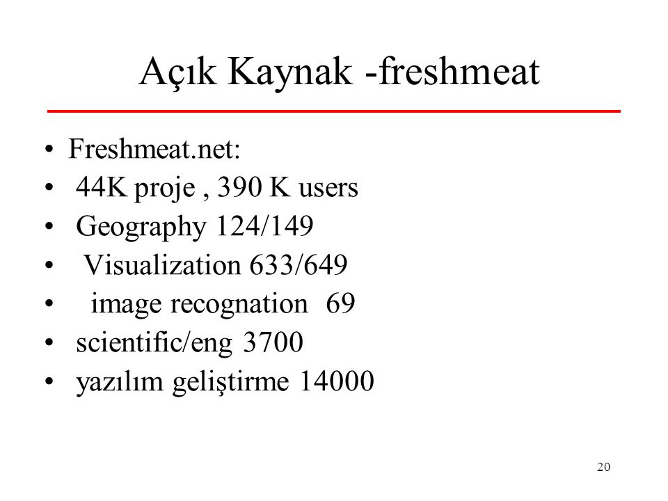 20 Açık Kaynak -freshmeat Freshmeat.net: 44K proje, 390 K users Geography 124/149 Visualization 633/649 image recognation 69 scientific/eng 3700 yazıl