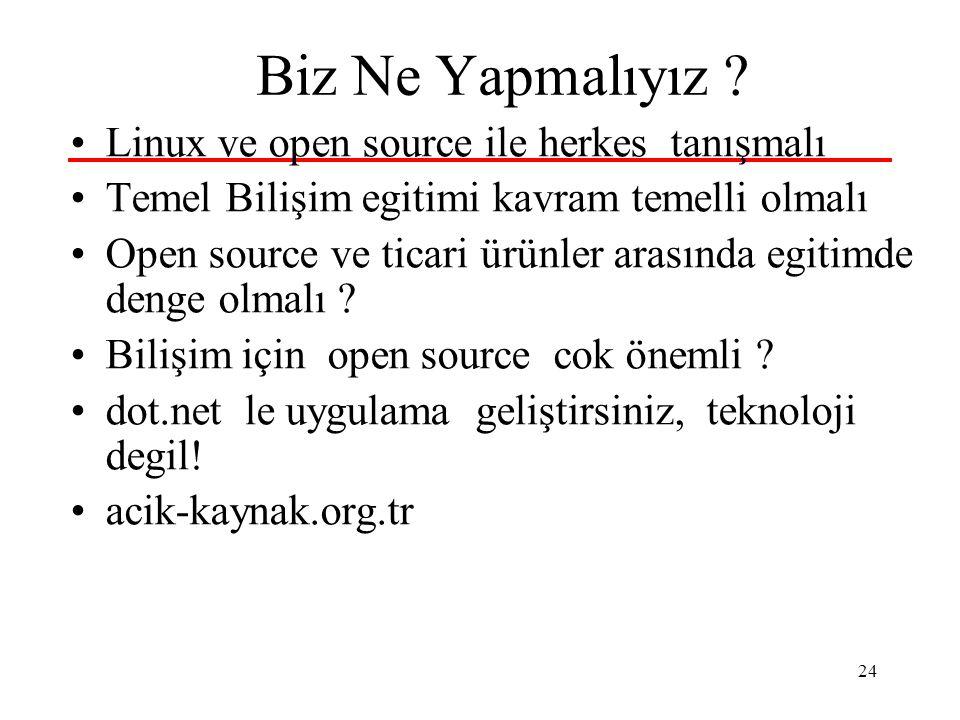 24 Biz Ne Yapmalıyız ? Linux ve open source ile herkes tanışmalı Temel Bilişim egitimi kavram temelli olmalı Open source ve ticari ürünler arasında eg