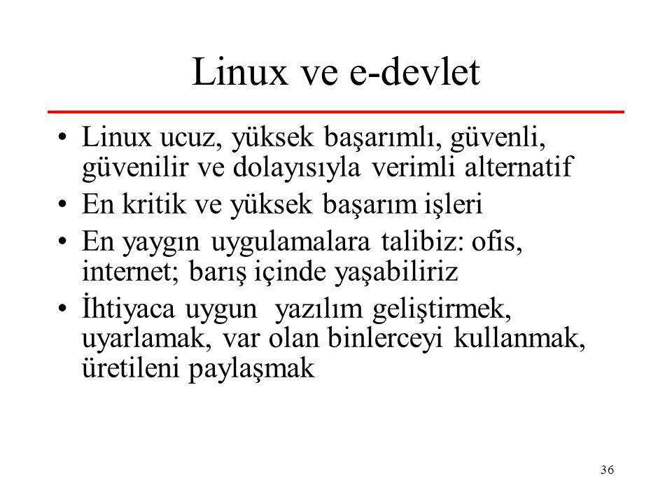 36 Linux ve e-devlet Linux ucuz, yüksek başarımlı, güvenli, güvenilir ve dolayısıyla verimli alternatif En kritik ve yüksek başarım işleri En yaygın uygulamalara talibiz: ofis, internet; barış içinde yaşabiliriz İhtiyaca uygun yazılım geliştirmek, uyarlamak, var olan binlerceyi kullanmak, üretileni paylaşmak