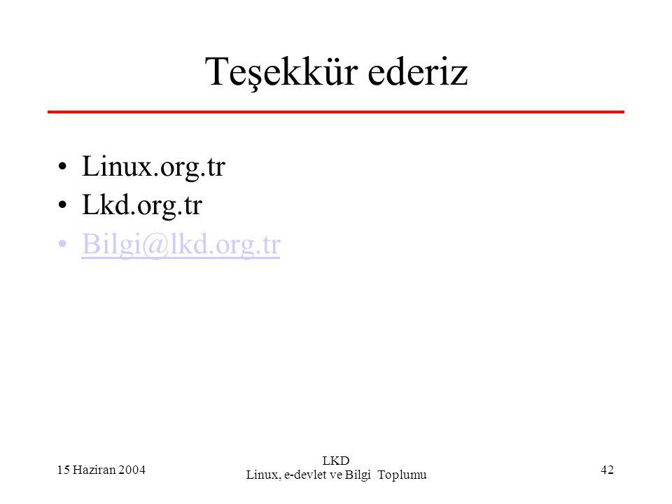 15 Haziran 2004 LKD Linux, e-devlet ve Bilgi Toplumu 42 Teşekkür ederiz Linux.org.tr Lkd.org.tr Bilgi@lkd.org.tr