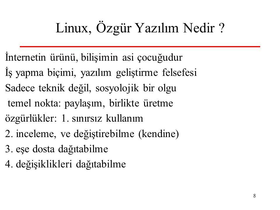 8 Linux, Özgür Yazılım Nedir ? İnternetin ürünü, bilişimin asi çocuğudur İş yapma biçimi, yazılım geliştirme felsefesi Sadece teknik değil, sosyolojik
