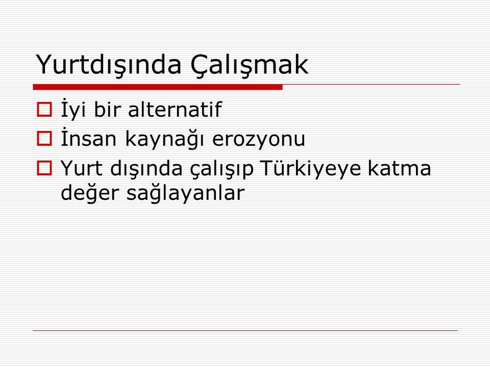 Yurtdışında Çalışmak  İyi bir alternatif  İnsan kaynağı erozyonu  Yurt dışında çalışıp Türkiyeye katma değer sağlayanlar