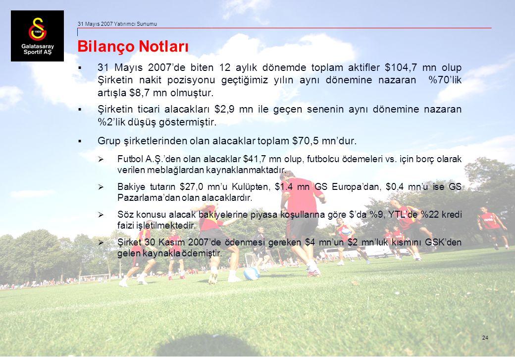 24 31 Mayıs 2007 Yatırımcı Sunumu Bilanço Notları  31 Mayıs 2007'de biten 12 aylık dönemde toplam aktifler $104,7 mn olup Şirketin nakit pozisyonu geçtiğimiz yılın aynı dönemine nazaran %70'lik artışla $8,7 mn olmuştur.