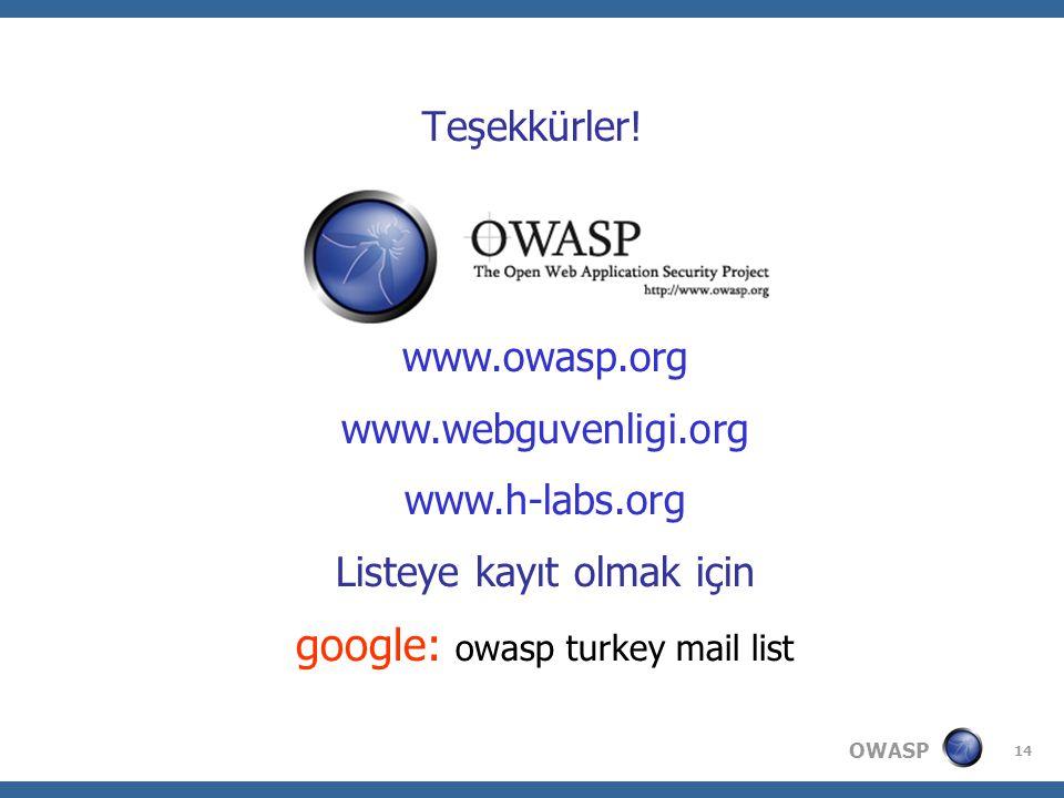 OWASP 14 Teşekkürler.