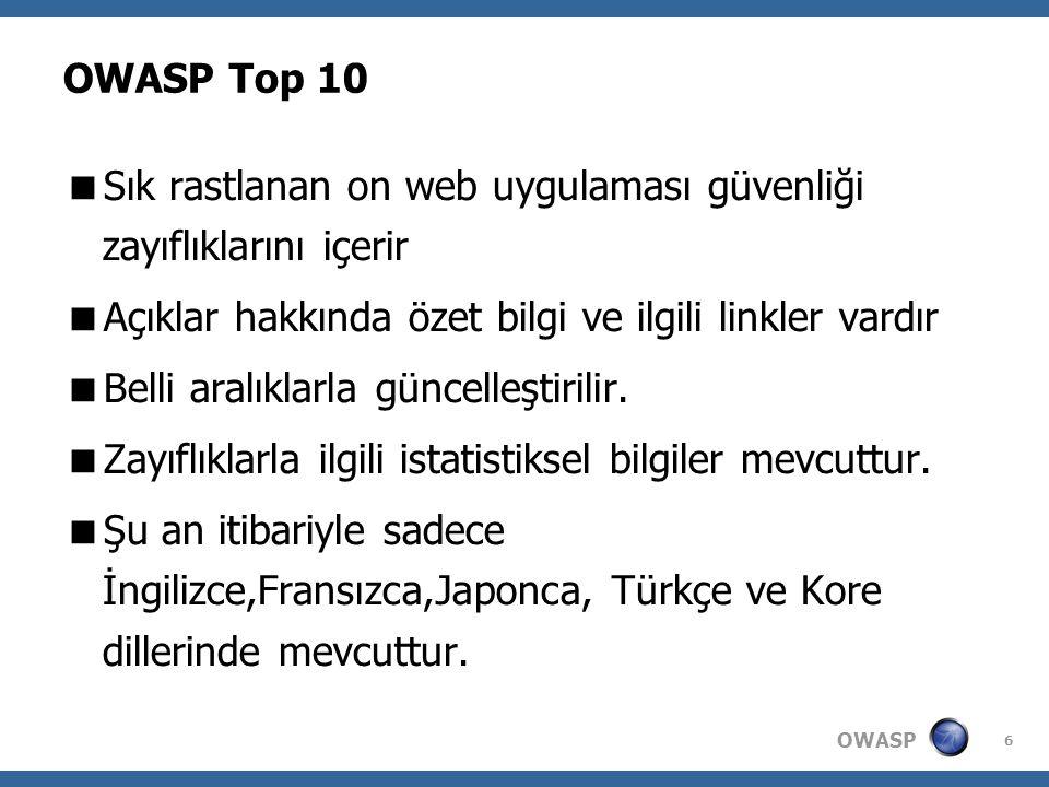 OWASP 6 OWASP Top 10  Sık rastlanan on web uygulaması güvenliği zayıflıklarını içerir  Açıklar hakkında özet bilgi ve ilgili linkler vardır  Belli aralıklarla güncelleştirilir.