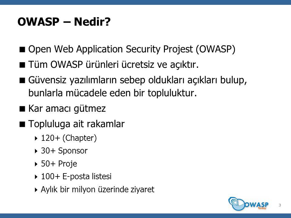 14 Projelerimiz  Owasp-WeBekci (SoC 2008) ve MSALParser  CAMMP ( C hroot A pache M ysql M odSecurity P HP)  SecureImage (.NET, Java ve PHP API)  SecureTomcat (Tomcat J2EE sunucu güvenlik denetimi)  Çeviri Projesi (~400 sayfa doküman)  Otomatize Sql Entektörleri Analizi (SoC 2008)  Jarvinen (Web tabanlı ModSecurity log analizi)  Web Güvenliği Terimler Sözlüğü  WIVET (Crawler Boy Ölçer)