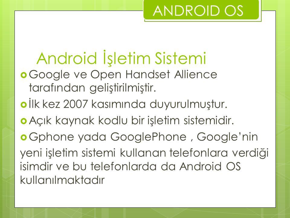 Android İşletim Sistemi  Google ve Open Handset Allience tarafından geliştirilmiştir.  İlk kez 2007 kasımında duyurulmuştur.  Açık kaynak kodlu bir