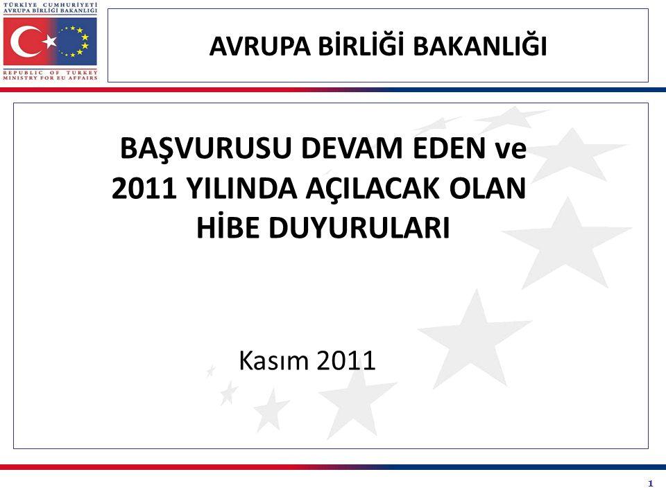 52 2011 YILI İÇERİSİNDE DUYURULMASI PLANLANAN HİBE PROGRAMLARI  Avrupa Birliği Bakanlığı tarafından yürütülecek olan Türkiye ile AB Arasında Sivil Toplum Diyaloğu-III: Siyasi Kriterler Hibe Programı nın tahmini duyuru zamanı 2012 yılının 1.