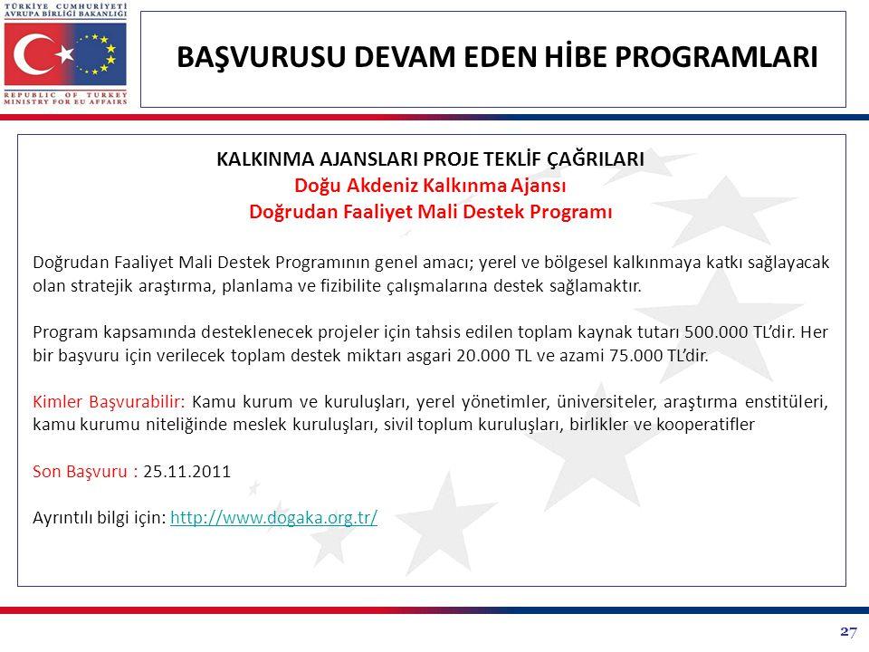 27 BAŞVURUSU DEVAM EDEN HİBE PROGRAMLARI KALKINMA AJANSLARI PROJE TEKLİF ÇAĞRILARI Doğu Akdeniz Kalkınma Ajansı Doğrudan Faaliyet Mali Destek Programı