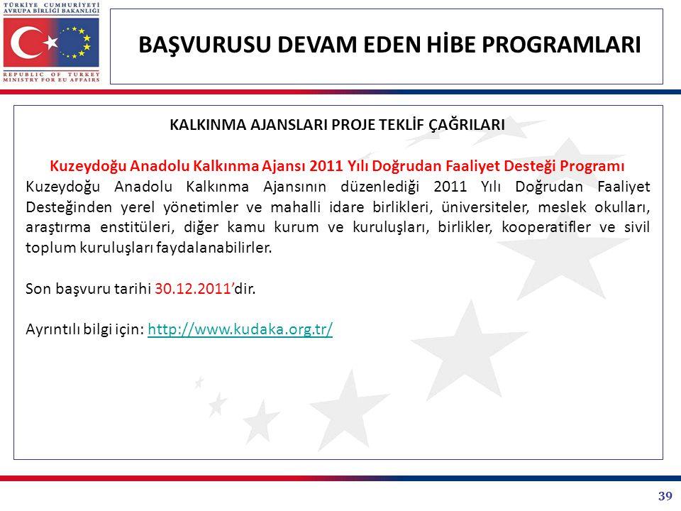 39 BAŞVURUSU DEVAM EDEN HİBE PROGRAMLARI KALKINMA AJANSLARI PROJE TEKLİF ÇAĞRILARI Kuzeydoğu Anadolu Kalkınma Ajansı 2011 Yılı Doğrudan Faaliyet Deste