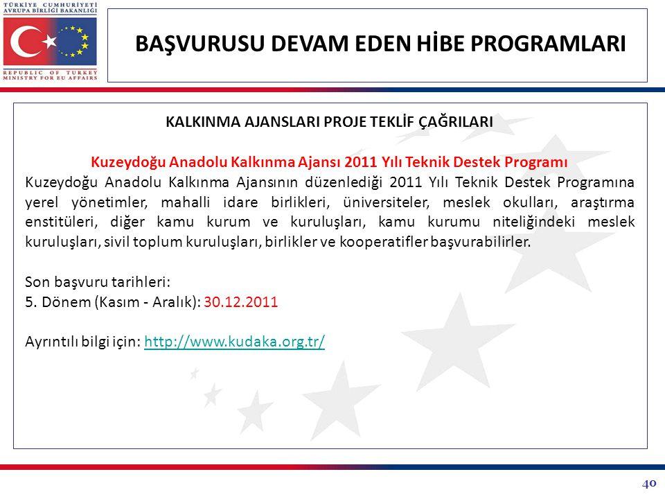 40 BAŞVURUSU DEVAM EDEN HİBE PROGRAMLARI KALKINMA AJANSLARI PROJE TEKLİF ÇAĞRILARI Kuzeydoğu Anadolu Kalkınma Ajansı 2011 Yılı Teknik Destek Programı