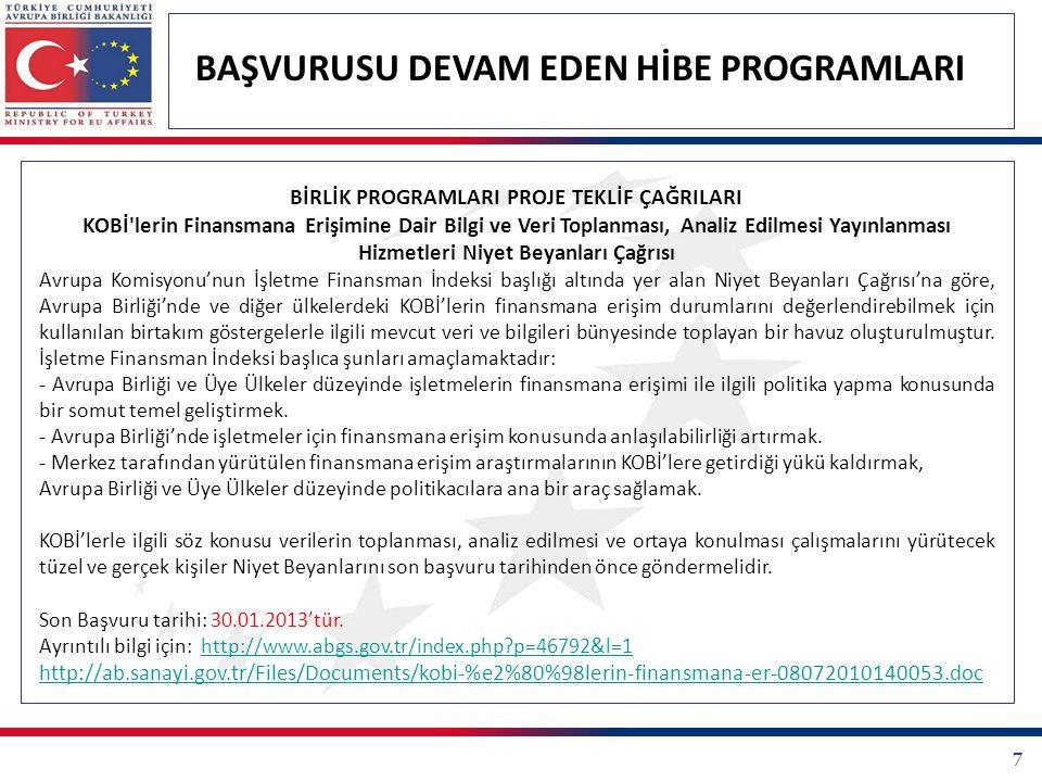 48 BAŞVURUSU DEVAM EDEN HİBE PROGRAMLARI DİĞER TEKLİF ÇAĞRILARI Tübitak Kamu Kurumları Araştırma Ve Geliştirme Projelerini Destekleme Programı (1007 Programı) 1007 Programı kamu kurumlarının Ar-Ge ile giderilebilecek ihtiyaçlarının karşılanması ya da sorunlarının çözüme kavuşturulması amacıyla kurulmuştur.