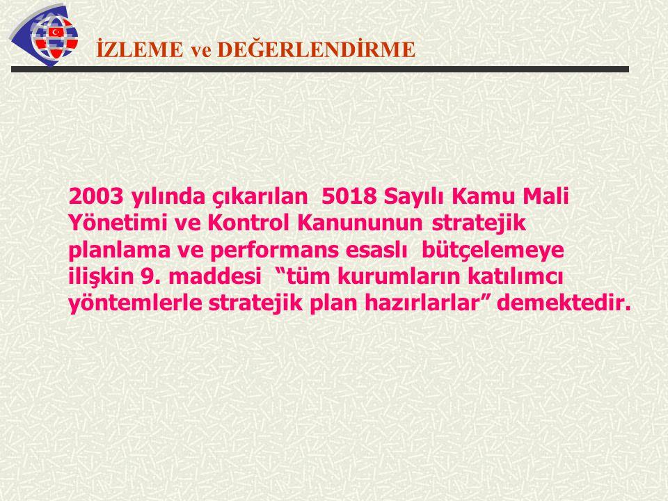 İZLEME ve DEĞERLENDİRME 2003 yılında çıkarılan 5018 Sayılı Kamu Mali Yönetimi ve Kontrol Kanununun stratejik planlama ve performans esaslı bütçelemeye