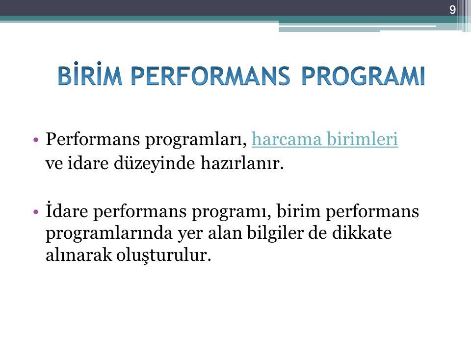 Performans programları, harcama birimleriharcama birimleri ve idare düzeyinde hazırlanır. İdare performans programı, birim performans programlarında y