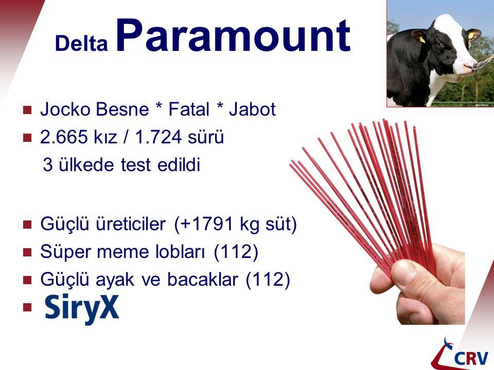 Delta Paramount  Jocko Besne * Fatal * Jabot  2.665 kız / 1.724 sürü 3 ülkede test edildi  Güçlü üreticiler (+1791 kg süt)  Süper meme lobları (11