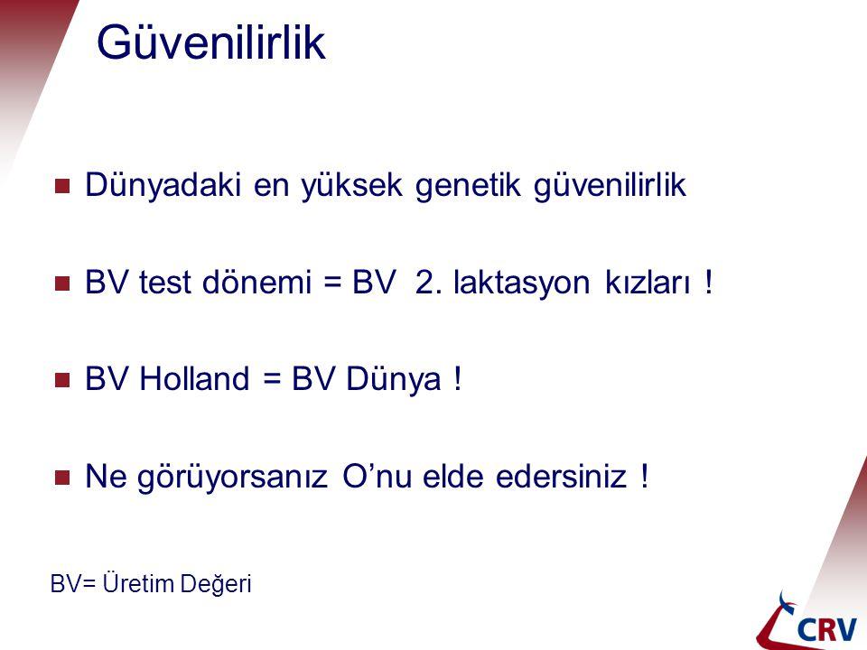 Güvenilirlik  Dünyadaki en yüksek genetik güvenilirlik  BV test dönemi = BV 2. laktasyon kızları !  BV Holland = BV Dünya !  Ne görüyorsanız O'nu