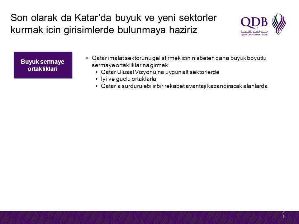 Buyuk sermaye ortakliklari 2121 Qatar imalat sektorunu gelistirmek icin nisbeten daha buyuk boyutlu sermaye ortakliklarina girmek: Qatar Ulusal Vizyon