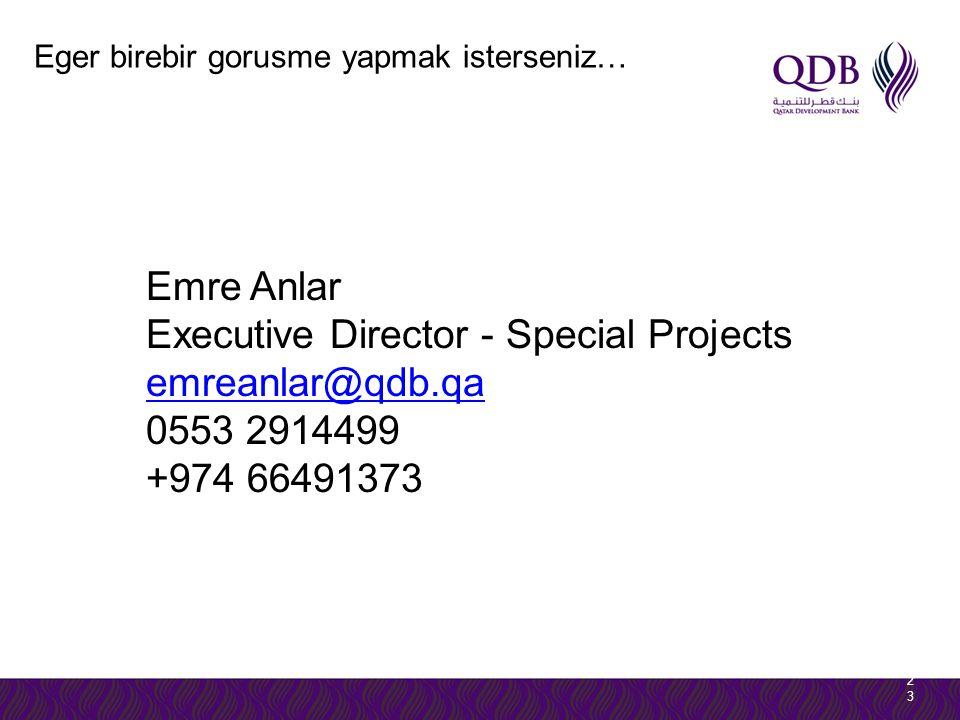 2323 Eger birebir gorusme yapmak isterseniz… Emre Anlar Executive Director - Special Projects emreanlar@qdb.qa 0553 2914499 +974 66491373