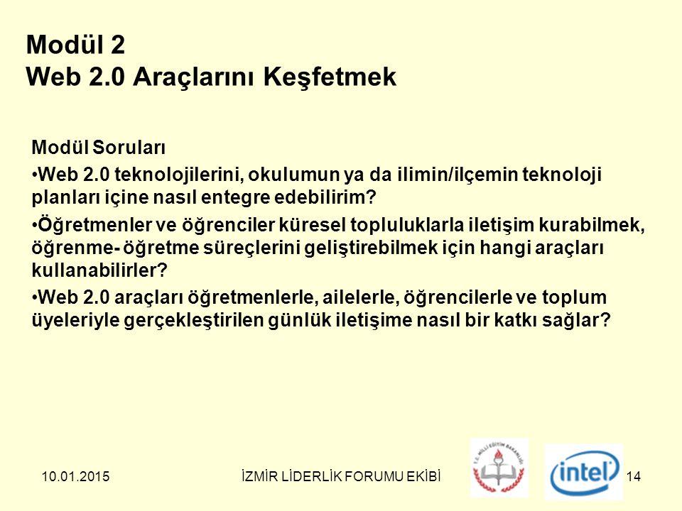 10.01.2015İZMİR LİDERLİK FORUMU EKİBİ14 Modül 2 Web 2.0 Araçlarını Keşfetmek Modül Soruları Web 2.0 teknolojilerini, okulumun ya da ilimin/ilçemin teknoloji planları içine nasıl entegre edebilirim.
