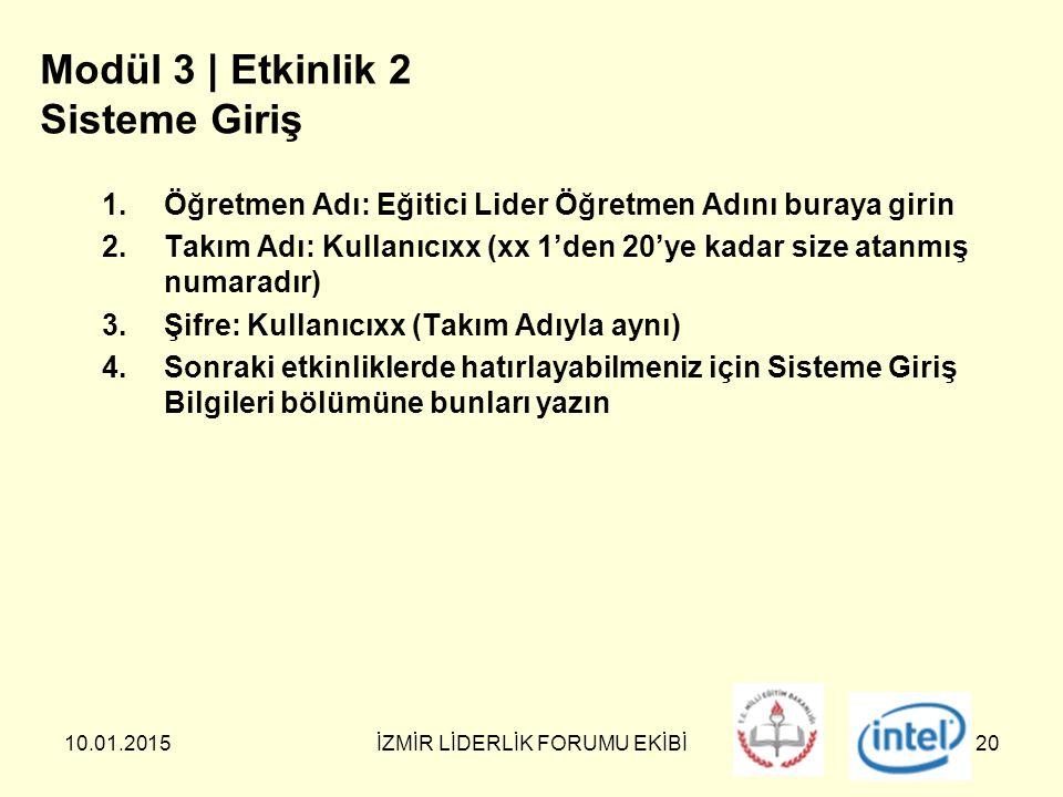 10.01.2015İZMİR LİDERLİK FORUMU EKİBİ20 Modül 3 | Etkinlik 2 Sisteme Giriş 1.Öğretmen Adı: Eğitici Lider Öğretmen Adını buraya girin 2.Takım Adı: Kullanıcıxx (xx 1'den 20'ye kadar size atanmış numaradır) 3.Şifre: Kullanıcıxx (Takım Adıyla aynı) 4.Sonraki etkinliklerde hatırlayabilmeniz için Sisteme Giriş Bilgileri bölümüne bunları yazın