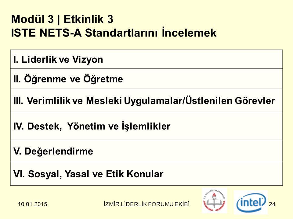 10.01.2015İZMİR LİDERLİK FORUMU EKİBİ24 Modül 3 | Etkinlik 3 ISTE NETS-A Standartlarını İncelemek I.