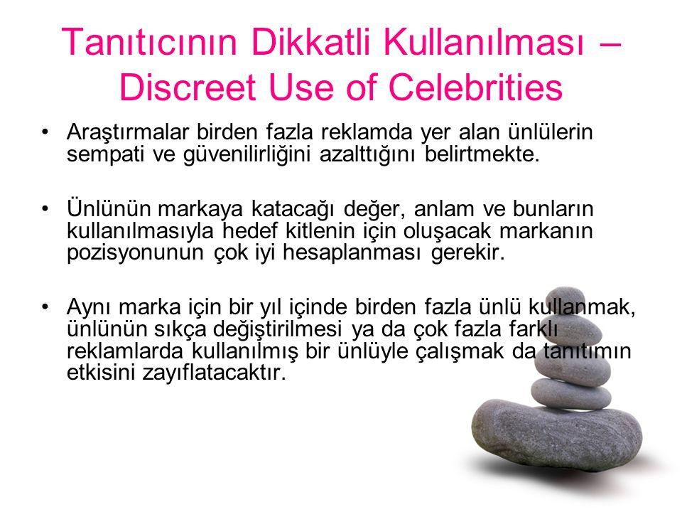 Tanıtıcının Dikkatli Kullanılması – Discreet Use of Celebrities Araştırmalar birden fazla reklamda yer alan ünlülerin sempati ve güvenilirliğini azalt