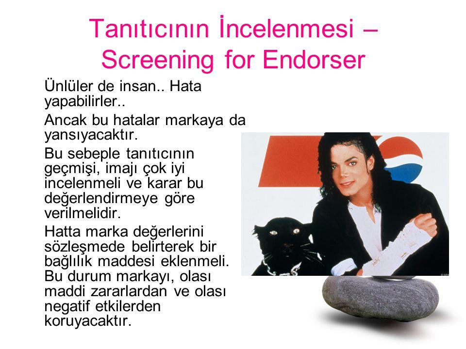 Tanıtıcının İncelenmesi – Screening for Endorser Ünlüler de insan.. Hata yapabilirler.. Ancak bu hatalar markaya da yansıyacaktır. Bu sebeple tanıtıcı