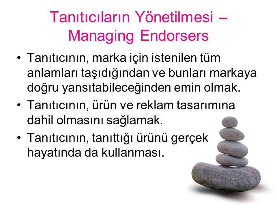 Tanıtıcıların Yönetilmesi – Managing Endorsers Tanıtıcının, marka için istenilen tüm anlamları taşıdığından ve bunları markaya doğru yansıtabileceğind