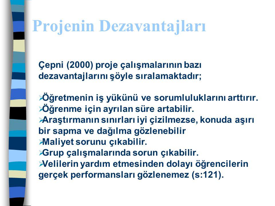 Projenin Avantajları Hamurcu'ya (2000) göre proje çalışması öğrencilere:  Yaşamsal beceriler  Teknoloji kullanma becerisi  Bilişsel beceriler  Öz
