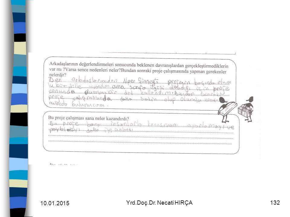 Sürecin Değerlendirilmesi Öğretmenin grupları değerlendirmesi (Grup Değerlendirme Formu) 10.01.2015 131Yrd.Doç.Dr. Necati HIRÇA