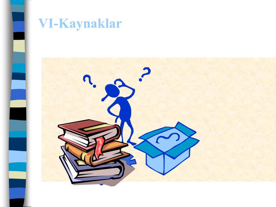 V.BÖLÜM: Sonuç ve Öneriler Sonuçlar maddeler halinde yazılmalı, hipotezlerin gerçekleşip gerçekleşmediği belirtilmeli, bu konuda yapılmış araştırma so