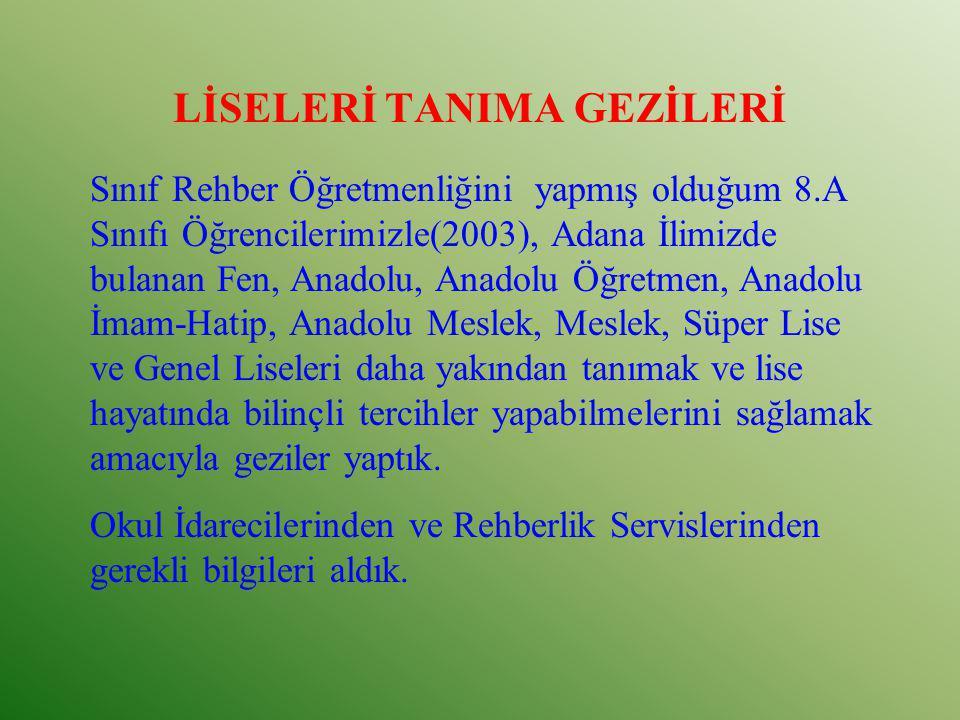 LİSELERİ TANIMA GEZİLERİ Sınıf Rehber Öğretmenliğini yapmış olduğum 8.A Sınıfı Öğrencilerimizle(2003), Adana İlimizde bulanan Fen, Anadolu, Anadolu Öğ