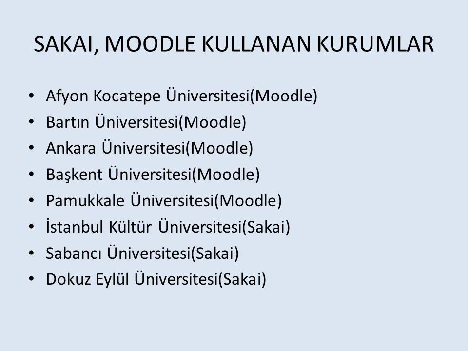 SAKAI, MOODLE KULLANAN KURUMLAR Afyon Kocatepe Üniversitesi(Moodle) Bartın Üniversitesi(Moodle) Ankara Üniversitesi(Moodle) Başkent Üniversitesi(Moodl
