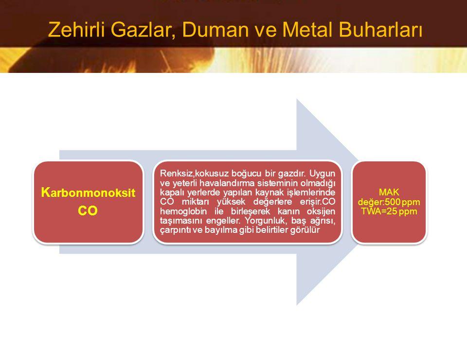 K arbonmonoksit CO Renksiz,kokusuz boğucu bir gazdır. Uygun ve yeterli havalandırma sisteminin olmadığı kapalı yerlerde yapılan kaynak işlemlerinde CO