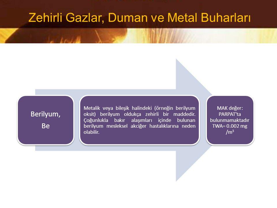 Berilyum, Be Metalik veya bileşik halindeki (örneğin berilyum oksit) berilyum oldukça zehirli bir maddedir. Çoğunlukla bakır alaşımları içinde bulunan