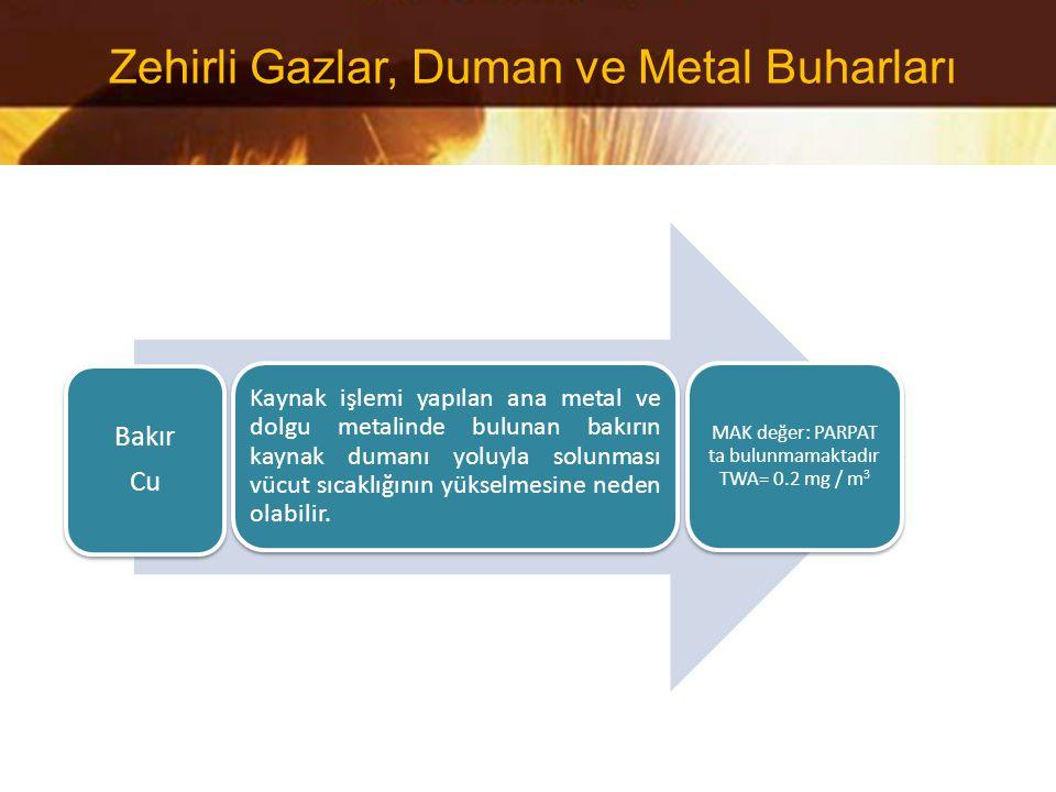 Bakır Cu Kaynak işlemi yapılan ana metal ve dolgu metalinde bulunan bakırın kaynak dumanı yoluyla solunması vücut sıcaklığının yükselmesine neden olab