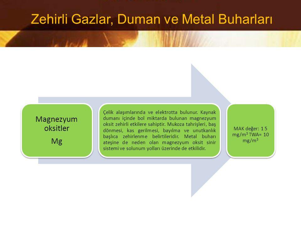 Magnezyum oksitler Mg Çelik alaşımlarında ve elektrotta bulunur. Kaynak dumanı içinde bol miktarda bulunan magnezyum oksit zehirli etkilere sahiptir.