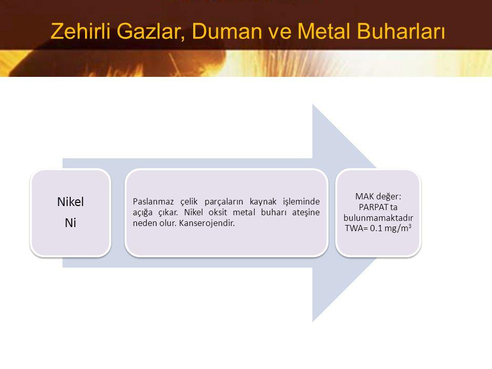 Nikel Ni Paslanmaz çelik parçaların kaynak işleminde açığa çıkar. Nikel oksit metal buharı ateşine neden olur. Kanserojendir. MAK değer: PARPAT ta bul