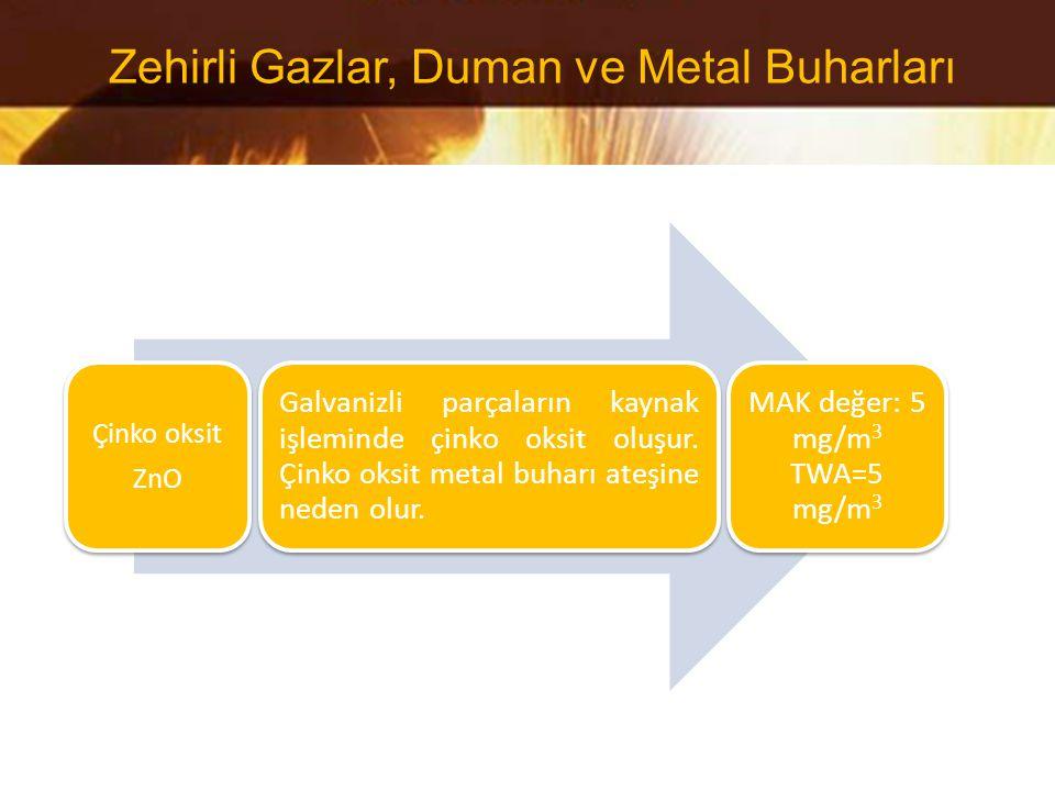 Çinko oksit ZnO Galvanizli parçaların kaynak işleminde çinko oksit oluşur. Çinko oksit metal buharı ateşine neden olur. MAK değer: 5 mg/m 3 TWA=5 mg/m