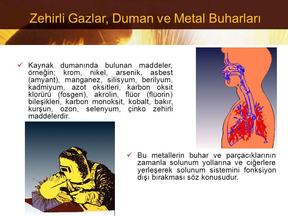 Kaynak dumanında bulunan maddeler, örneğin; krom, nikel, arsenik, asbest (amyant), manganez, silisyum, berilyum, kadmiyum, azot oksitleri, karbon oksi