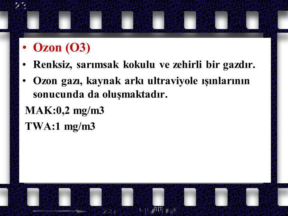 Azot Oksit Gazları Ozon (O3) Renksiz, sarımsak kokulu ve zehirli bir gazdır. Ozon gazı, kaynak arkı ultraviyole ışınlarının sonucunda da oluşmaktadır.