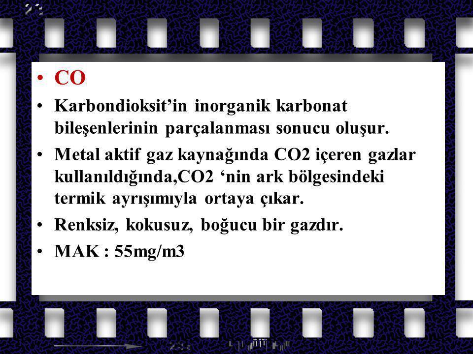 Azot Oksit Gazları CO Karbondioksit'in inorganik karbonat bileşenlerinin parçalanması sonucu oluşur. Metal aktif gaz kaynağında CO2 içeren gazlar kull