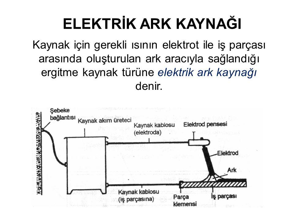 ELEKTRİK ARK KAYNAĞI Kaynak için gerekli ısının elektrot ile iş parçası arasında oluşturulan ark aracıyla sağlandığı ergitme kaynak türüne elektrik ar