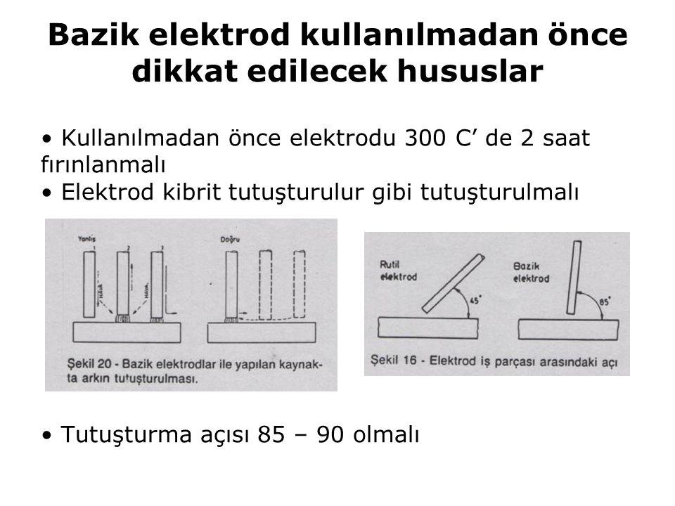 Bazik elektrod kullanılmadan önce dikkat edilecek hususlar Kullanılmadan önce elektrodu 300 C' de 2 saat fırınlanmalı Elektrod kibrit tutuşturulur gib