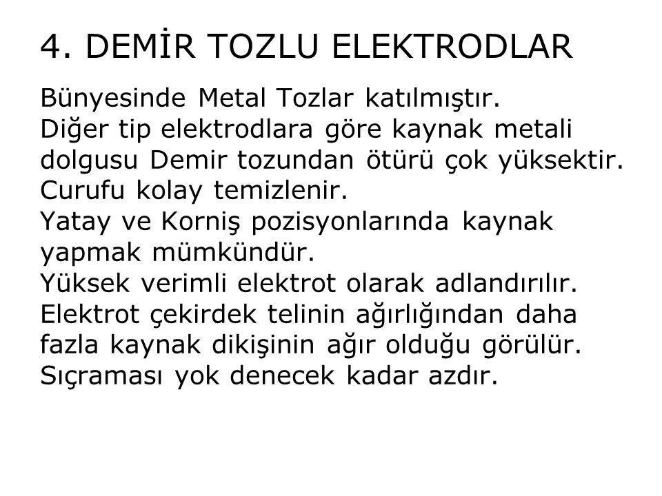 4. DEMİR TOZLU ELEKTRODLAR Bünyesinde Metal Tozlar katılmıştır. Diğer tip elektrodlara göre kaynak metali dolgusu Demir tozundan ötürü çok yüksektir.
