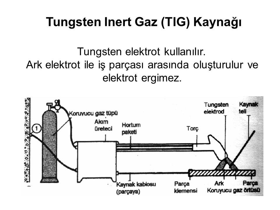 Tungsten Inert Gaz (TIG) Kaynağı Tungsten elektrot kullanılır. Ark elektrot ile iş parçası arasında oluşturulur ve elektrot ergimez.