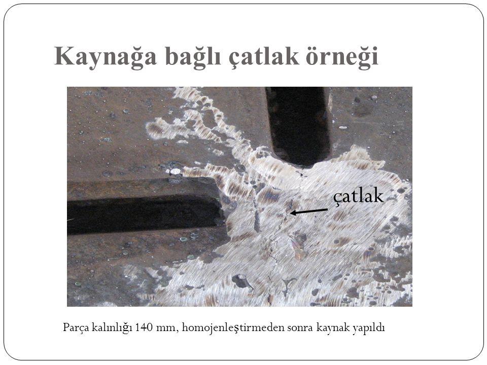 Kaynağa bağlı çatlak örneği çatlak Parça kalınlı ğ ı 140 mm, homojenle ş tirmeden sonra kaynak yapıldı