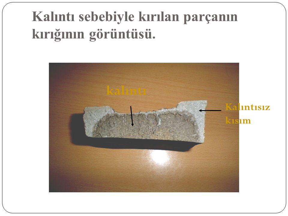 Kalıntı sebebiyle kırılan parçanın kırığının görüntüsü. kalıntı Kalıntısız kısım